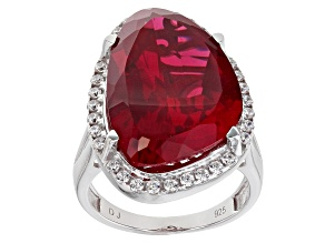Pre-Owned Red and White Cubic Zirconia Rhodium Over Sterling Silver Ring 20.33ctw