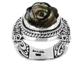 Pre-Owned Multi-Color Abalone & Mother-of-Pearl Silver Frangipani Ring