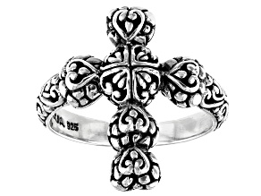 """Pre-Owned Sterling Silver """"Righteousness By Faith"""" Cross Ring"""