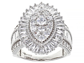 Pre-Owned White Cubic Zirconia Rhodium Over Sterling Silver Ring 4.29ctw