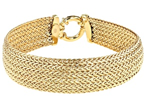 Pre-Owned 10k Domed Multi-strand 15mm Wheat Bracelet 7.5 Inches