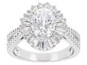 Pre-Owned Cubic Zirconia Rhodium Over Sterling Silver Ring 3.76 DEW