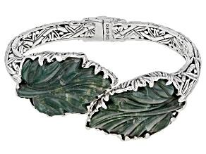 Pre-Owned Green Moss Agate Sterling Silver Bracelet