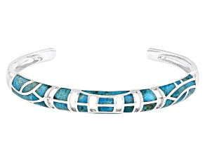 Pre-Owned  Freeform Blue Turquoise Rhodium Over Silver Inlay Cuff Bracelet