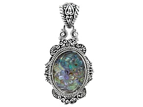 Pre-Owned Multicolor Abalone Shell Silver Pendant