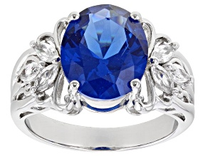 Pre-Owned Blue Lab Created Spinel Rhodium Over Sterling Silver Ring 5.18ctw
