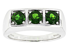 Pre-Owned Green Russian Chrome Diopside Rhodium Over Sterling Silver Mens Ring 1.44ctw