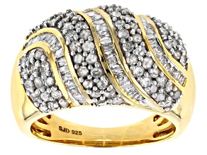 Pre-Owned White Diamond 14k Yellow Gold Over Sterling Silver Ring 1.75ctw