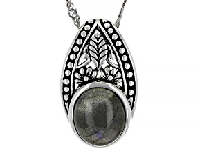 Pre-Owned Gray Labradorite Rhodium Over Sterling Silver Pendant with chain