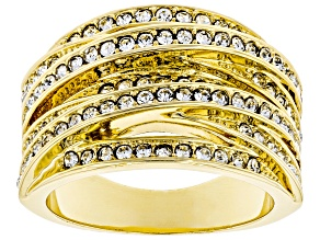 Pre-Owned White Crystal Gold Tone Multi-Row Crossover Ring