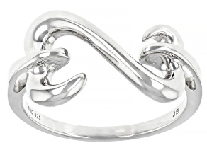 Pre-Owned Rhodium Over Sterling Silver Open Design Ring