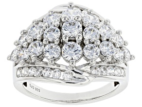Pre-Owned White Cubic Zirconia Rhodium Over Sterling Silver Ring 4.96ctw
