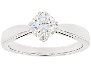 Pre-Owned Fabulite strontium titanate rhodium over sterling silver solitaire ring 1.10ct