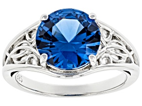 Pre-Owned Blue Lab Created Spinel Rhodium Over Sterling Silver Solitaire Ring 3.27ct