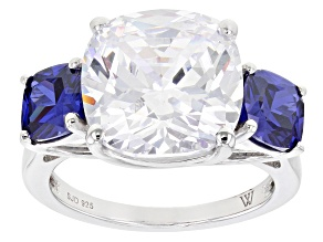 Pre-Owned Blue And White Cubic Zirconia Rhodium Over Sterling Silver Ring 15.52ctw