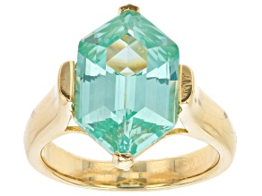Pre-Owned Green Lab Created Spinel 18K Yellow Gold Over Sterling Silver Ring 6.74ct