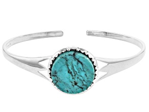 Pre-Owned Kingman Turquoise Sterling Silver Disc Cuff