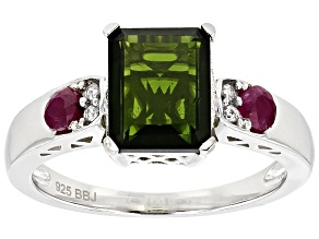 Pre-Owned Green Russian Chrome Diopside Sterling Silver Ring 2.70ctw