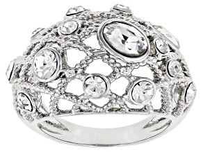 Pre-Owned Mixed Shapes White Crystal Silver Tone Ring