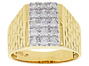 Pre-Owned White Diamond 14K Yellow Gold Over Sterling Silver Mens Ring 0.49ctw