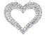 Pre-Owned White Cubic Zirconia Rhodium Over Sterling Silver Heart Pendant With Chain 2.22ctw