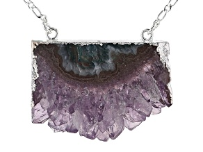 Pre-Owned Amethyst Slice Silver Over Brass Necklace