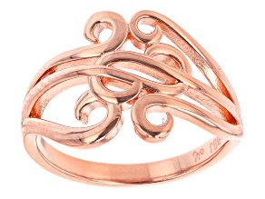 Pre-Owned 18K Rose Gold Over Sterling Silver Swirl Ring