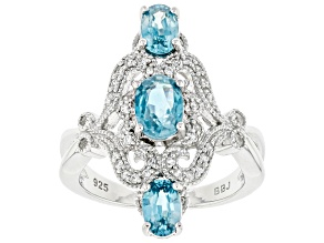 Pre-Owned Blue Zircon Rhodium Over Sterling Silver Ring 2.54ctw