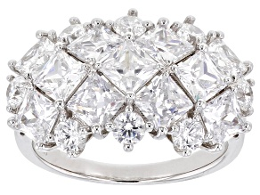Pre-Owned White Cubic Zirconia Rhodium Over Sterling Silver Ring 7.77ctw