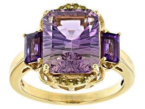 Pre-Owned Bi-Color Ametrine 18k Gold Over Silver Ring 4.46ctw
