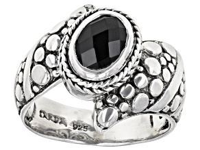 Pre-Owned Black Spinel Sterling Silver Ring 1.11ct