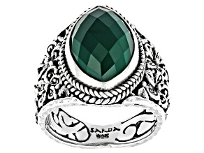 Pre-Owned Green Onyx Sterling Silver Frangipani Ring