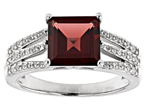 Pre-Owned Red Garnet Rhodium Over Sterling Silver Ring 2.95ctw