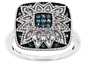 Pre-Owned Blue And White Diamond Rhodium Over Sterling Silver Cluster Ring 0.20ctw