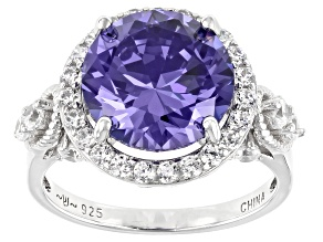 Pre-Owned Blue and White Cubic Zirconia Rhodium Over Sterling Silver Ring 6.96ctw