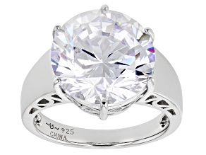 Pre-Owned White Cubic Zirconia Platinum Over Sterling Silver Ring 10.32ctw