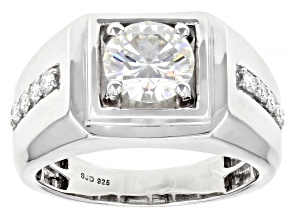 Pre-Owned Moissanite Platineve Mens Ring 2.14ctw DEW.