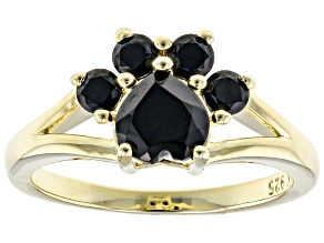 Pre-Owned Black Spinel 18K Yellow Gold Over Sterling Silver Paw Print Ring. 1.12ctw