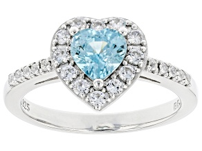 Pre-Owned Blue Zircon Rhodium Over Sterling Silver Ring 1.38ctw