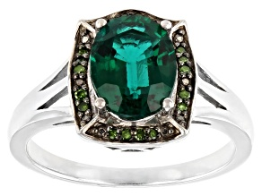 Pre-Owned Green Lab Created Emerald Rhodium Over Sterling Silver Ring 1.46ctw