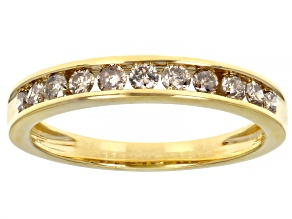 Pre-Owned Champagne Diamond 14K Yellow Gold Over Sterling Silver Band Ring 0.50ctw