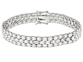 Pre-Owned White Cubic Zirconia Rhodium Over Sterling Silver Bracelet 32.00ctw