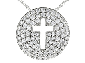 Pre-Owned White Cubic Zirconia Rhodium Over Sterling Silver Cross Pendant With Chain 3.49ctw