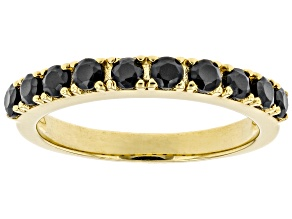 Pre-Owned Black Spinel 18K Yellow Gold Over Sterling Silver Band Ring 0.92ctw
