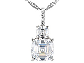 Pre-Owned Asscher Cut White Cubic Zirconia Platinum Over Sterling Pendant With Chain 7.62ctw (4.79ct