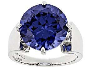 Pre-Owned Blue Cubic Zirconia Rhodium Over Sterling Silver Ring 13.05ctw