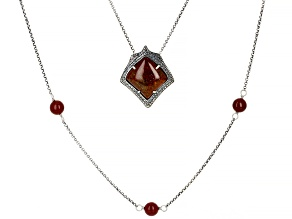 Pre-Owned Moroccan Jasper Sterling Silver Layered Necklace