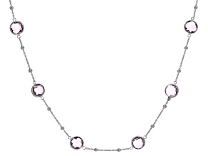 Pre-Owned Amethyst Rhodium Over Silver Necklace 14.40ctw