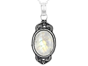 Pre-Owned Rainbow Moonstone Sterling Silver Pendant With Chain