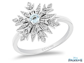 Pre-Owned Enchanted Disney Elsa Snowflake Ring Sky Blue Topaz And White Diamond Rhodium Over Silver